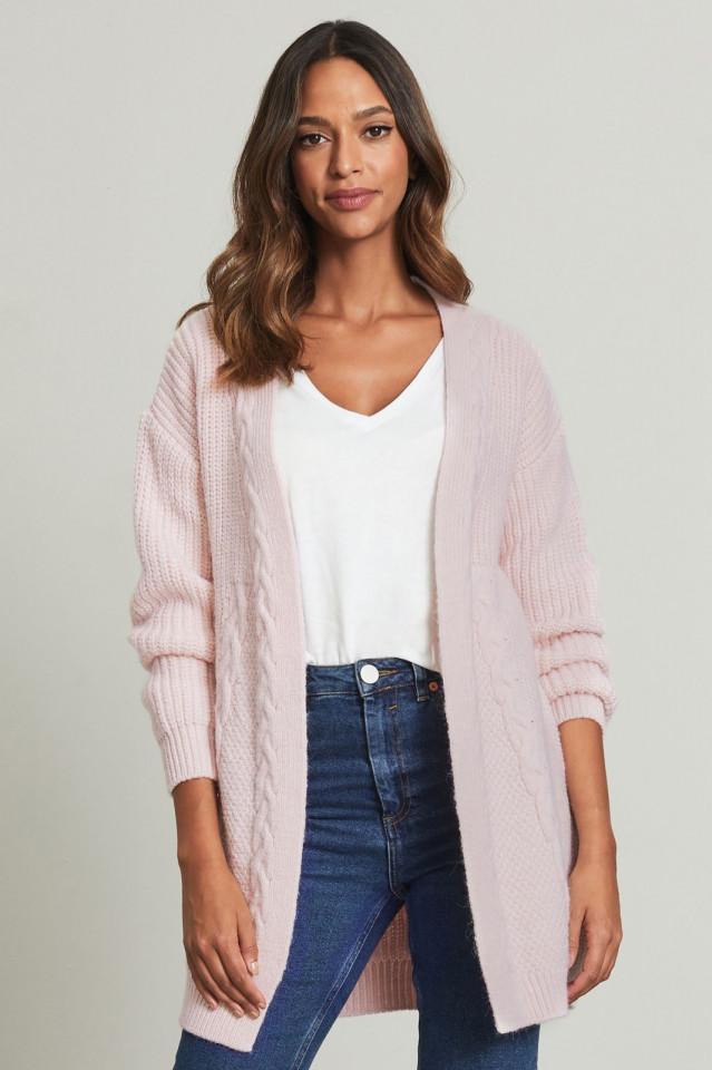Cardigan din tricot gros cu buzunare - roz praf