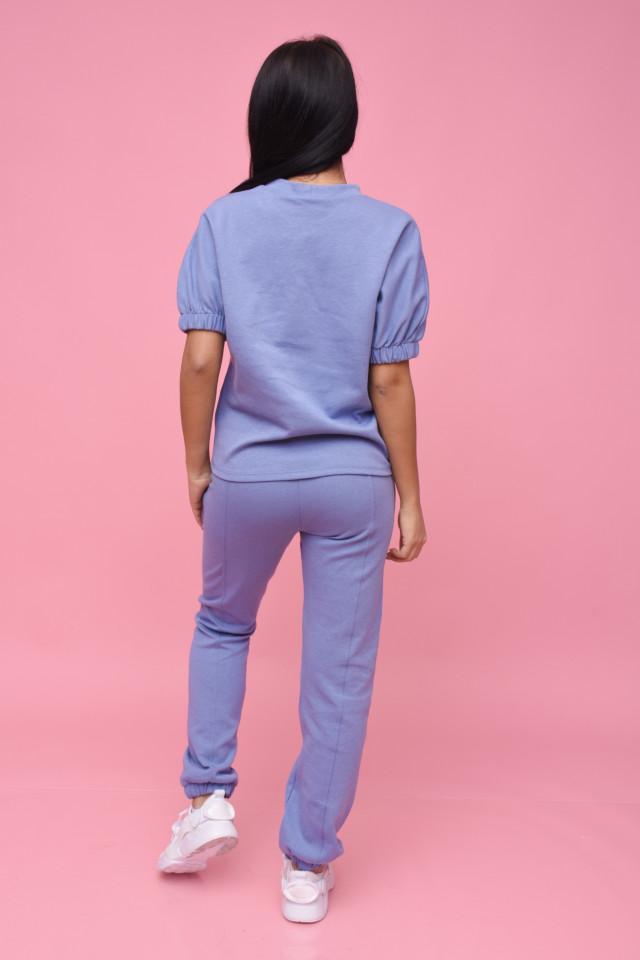 Compleu dama Karol din doua piese din tricot albastru