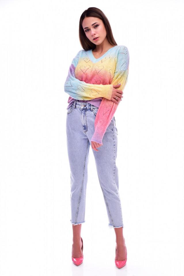 Pulover dama multicolor cu decolteu in v