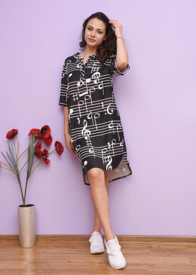 Rochie dama midi de vara cu imprimeu Lorelai - negru
