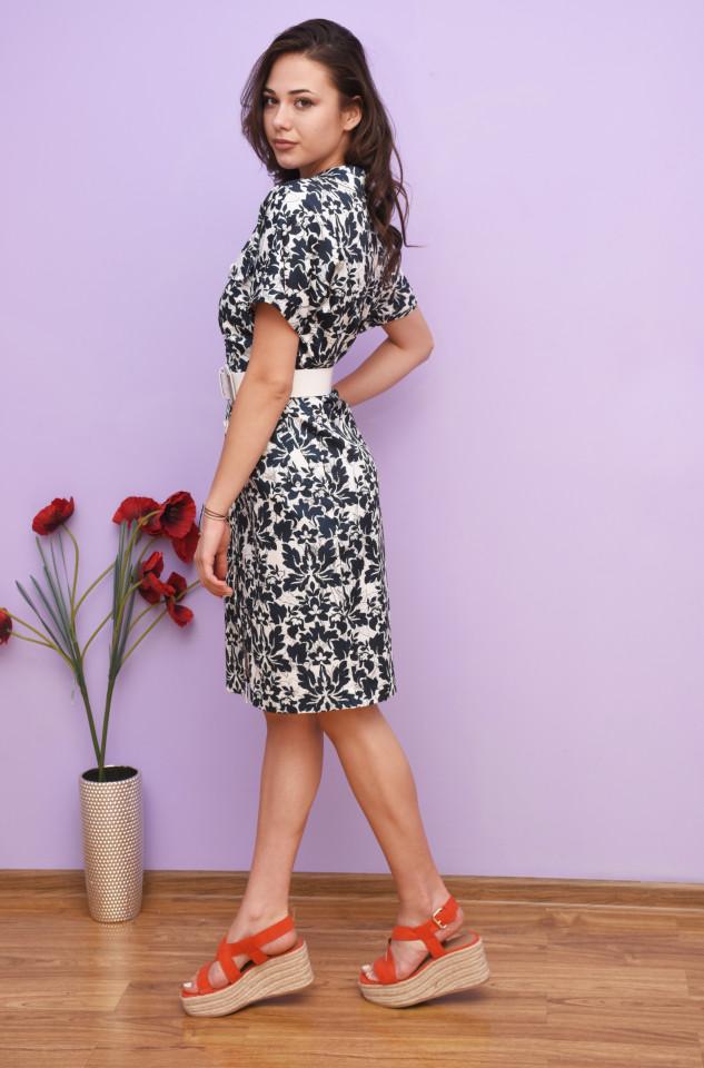 Rochie dama midi tip camasa cu imprimeu floral Gia