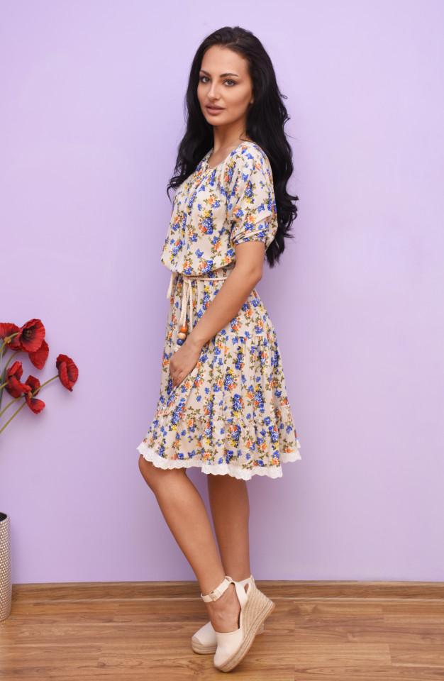 Rochie dama mini de vara din vascoza cu imprimeu floral Alani