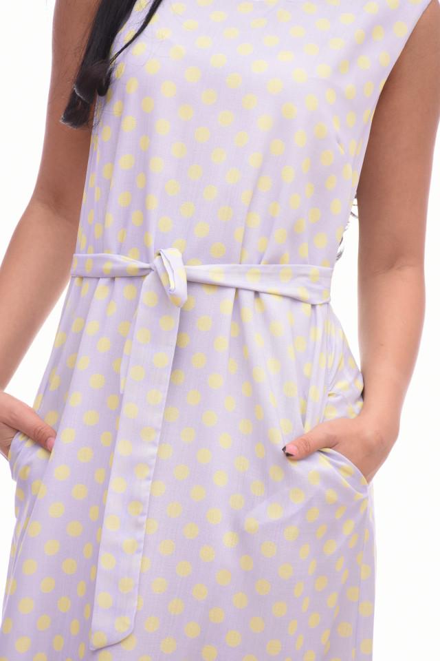 Rochie lunga cu buline Anastasia- bej-