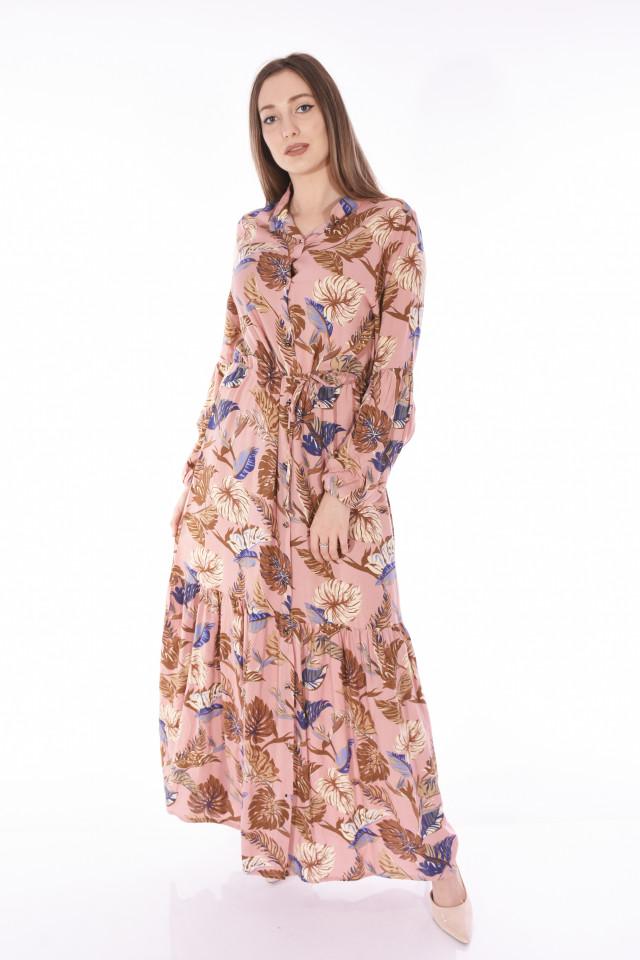 Rochie lunga vaporoasa cu imrimeu floral-E-