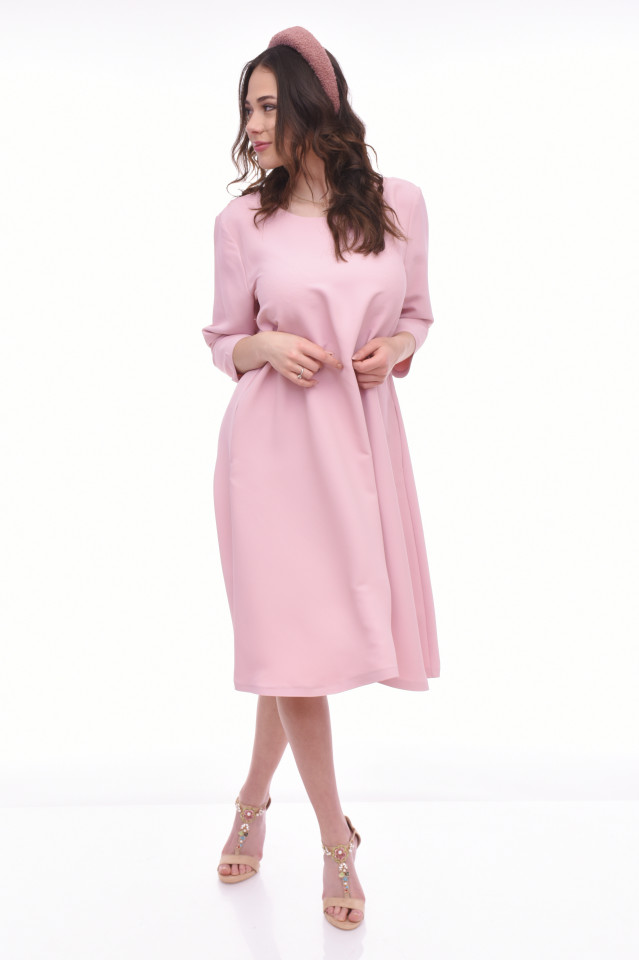 Rochie midi eleganta cu buzunare Cheryl - roz-