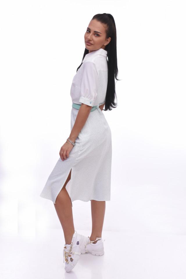 Rochie midi stil camasa cu imprimeu si curea - alb/turcoaz