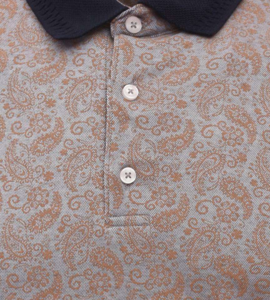 Tricou Polo Barbati Regular Fit Wellalux -imprimeu paisley-bej