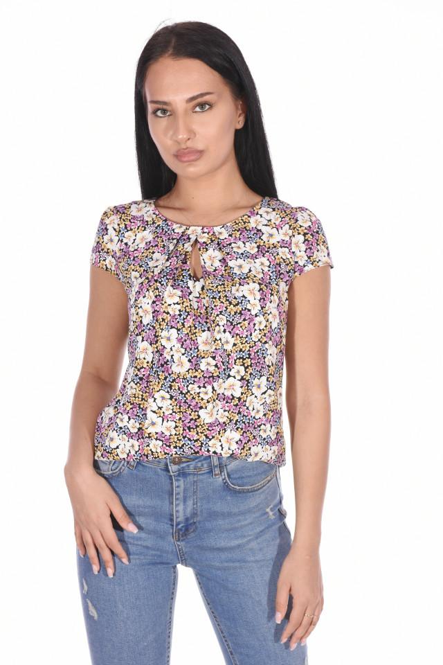 Bluza din vascoza cu imprimeu floral-mov-E