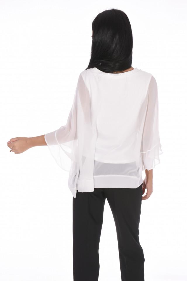 Bluza eleganta cu un croi mulat suprapunere cu voal-alb-