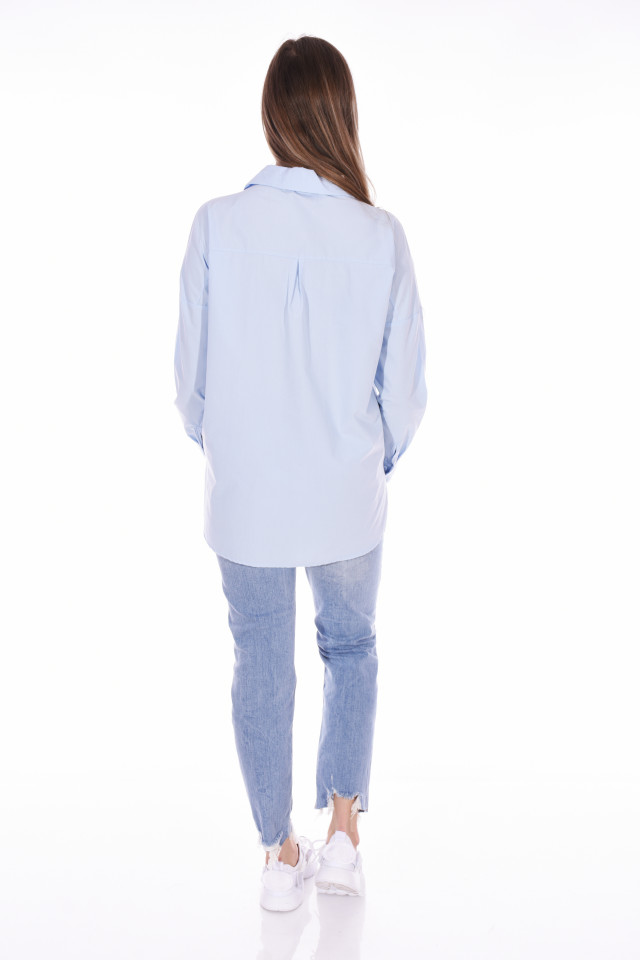 Camasa casual cu strasuri - albastru deschis-