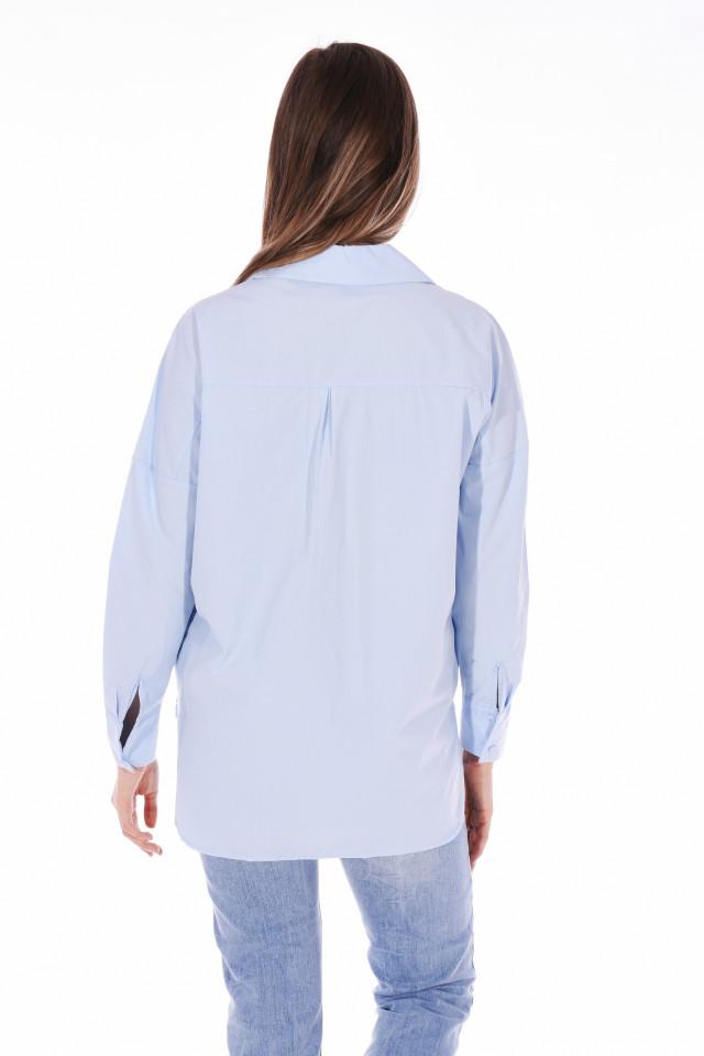 Camasa dama casual cu strasuri - albastru deschis-