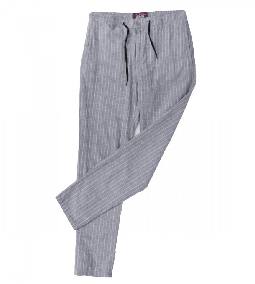 Pantaloni din in cu dungi -gri