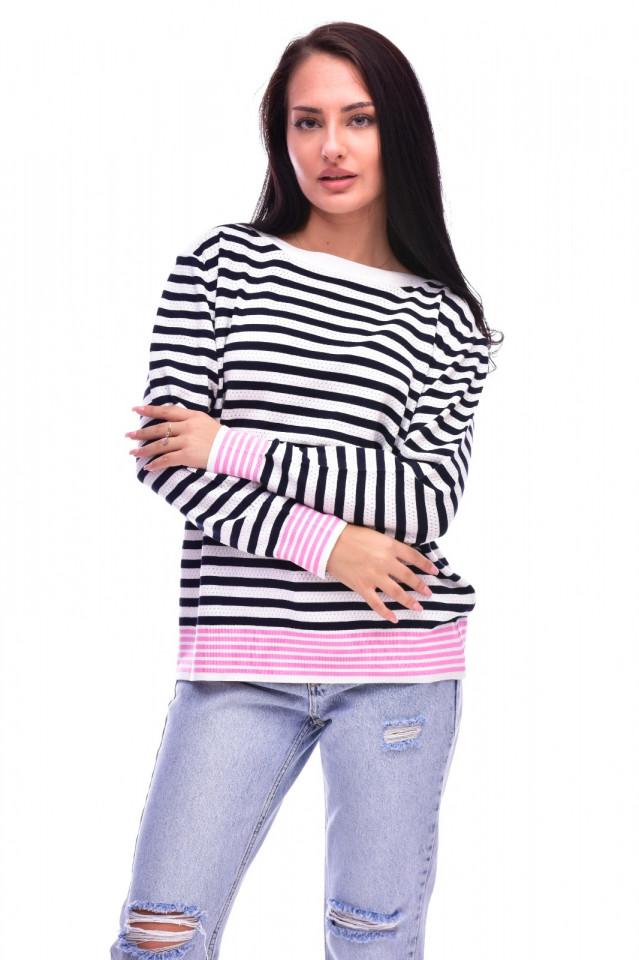 Pulover din tricot fin cu dungi