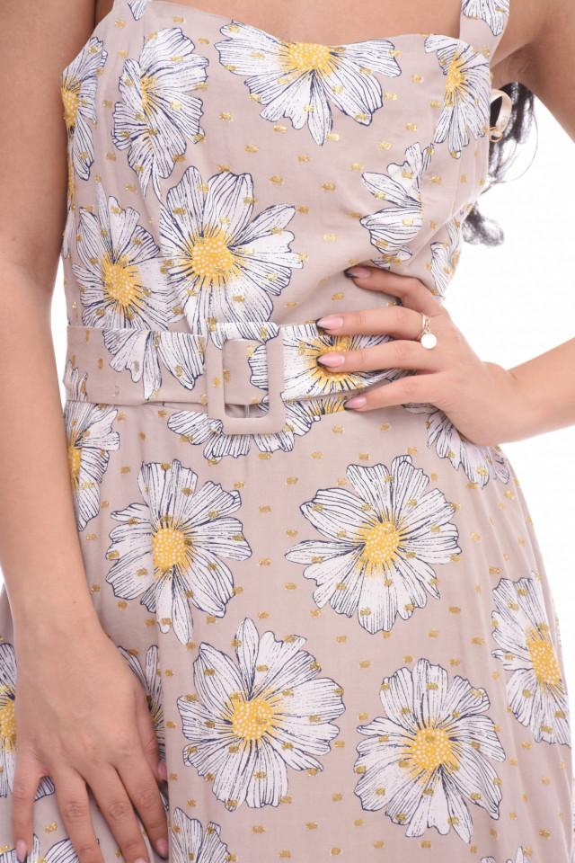 Rochie cu imprimeu floral Anna - bej -E