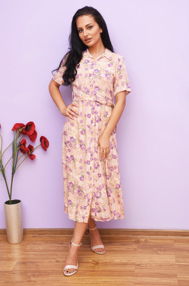 Rochie dama midi de vara cu imprimeu floral Aisha- roz