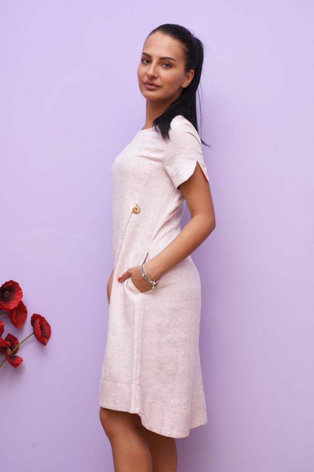 Rochie midi casual asimetrica Jullie - roz deschis
