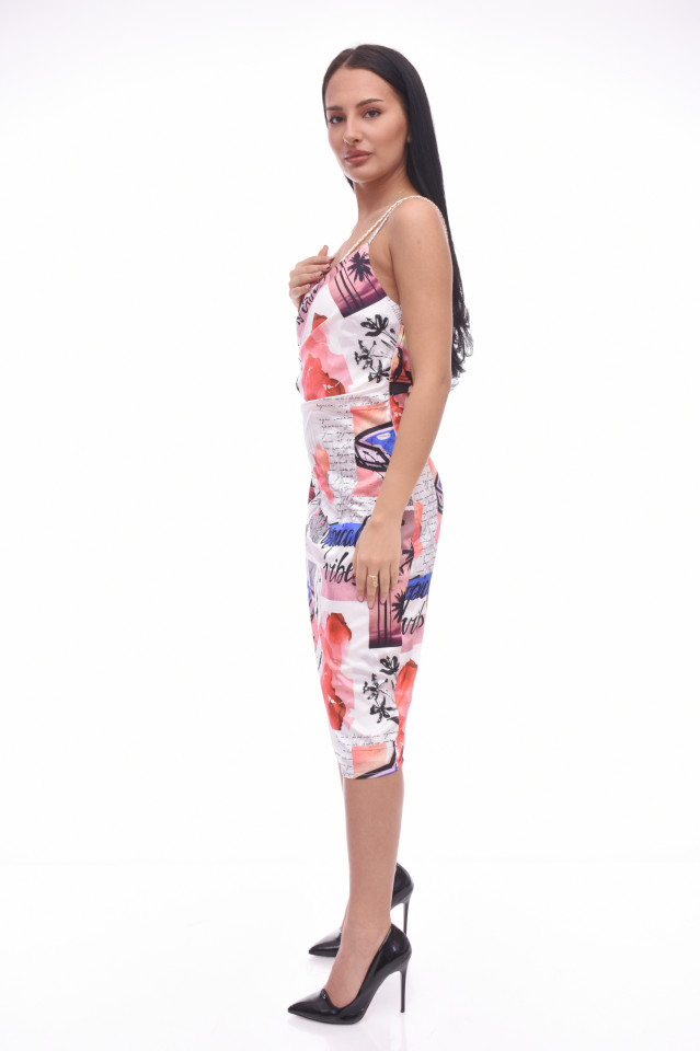 Rochie midi cu imprimeu geometric-E-