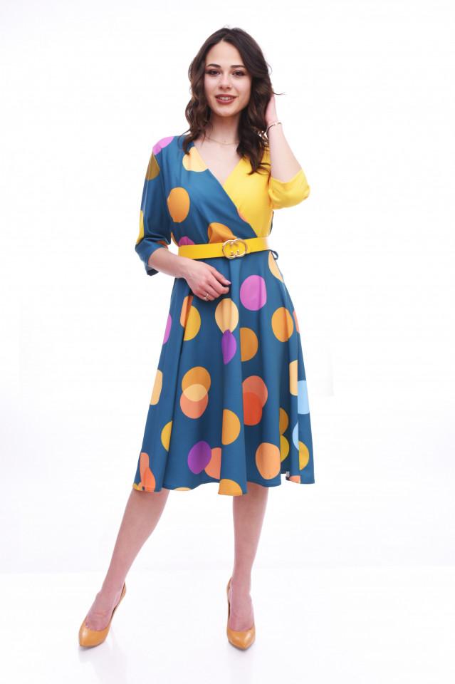 Rochie midi eleganta cu buline - multicolor
