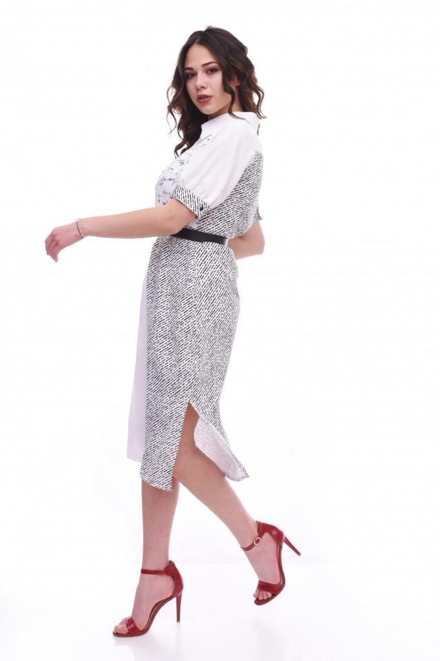 Rochie midi stil camasa cu imprimeu si curea - alb/negru