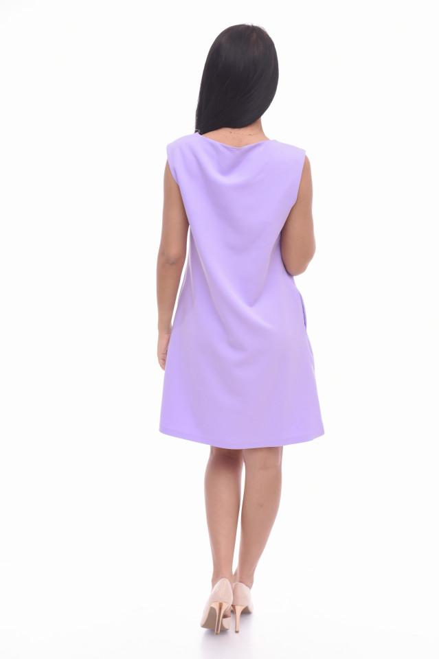 Rochie mini eleganta lila cu imprimeu