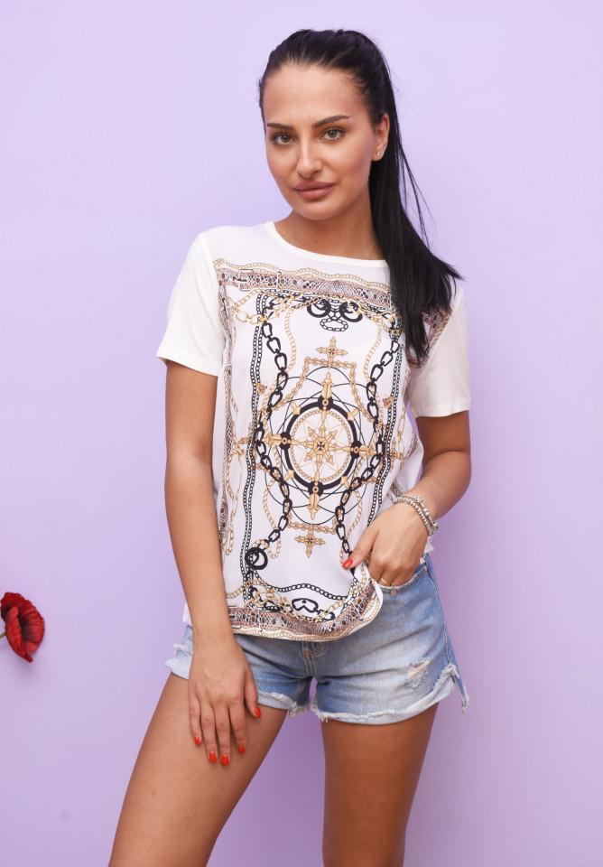 Tricou dama cu imprimeu - alb