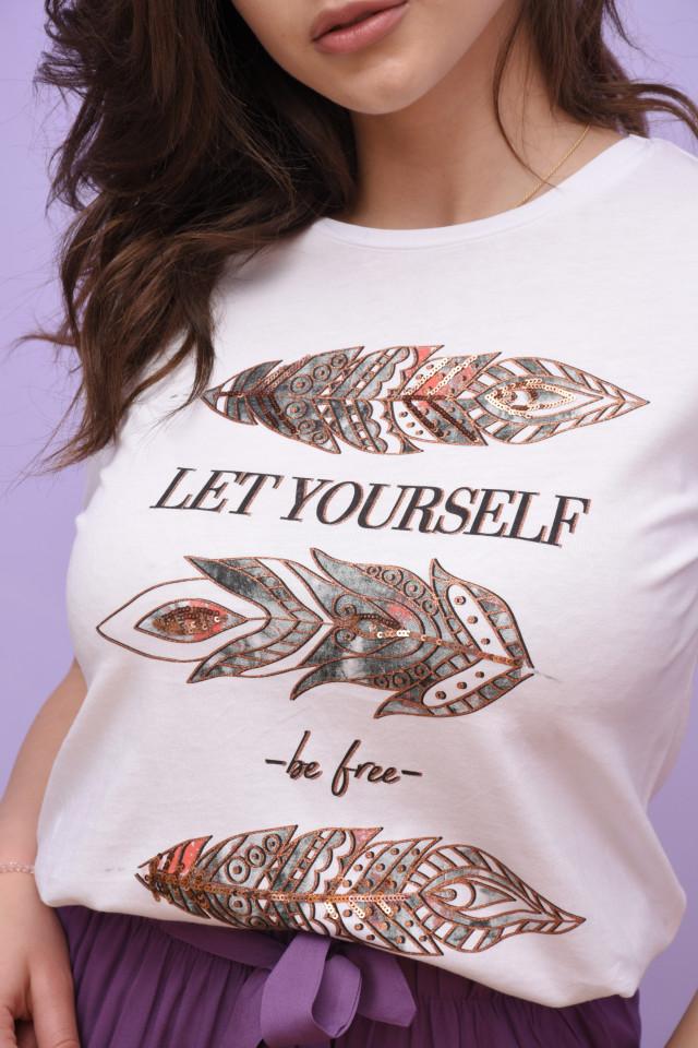 """Tricou dama cu imprimeu """"Be Free """""""