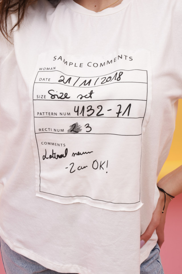 """Tricou dama cu imprimeu """"Sample Comments """"-E-"""