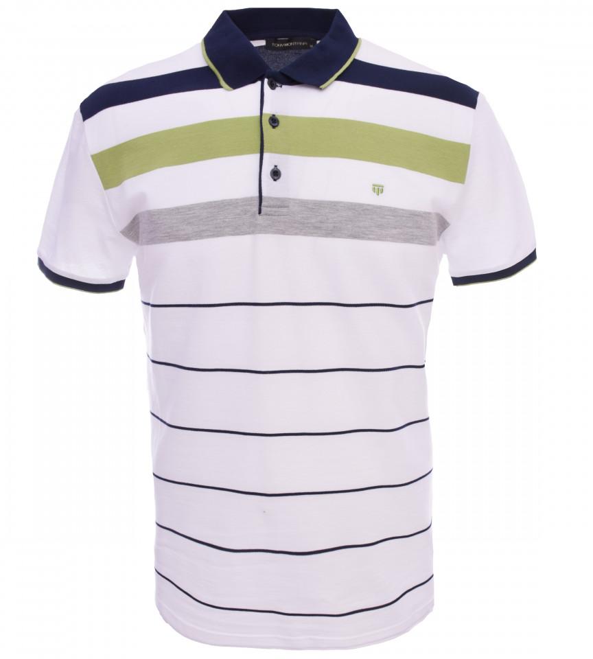 Tricou Polo Barbati Regular fit Tony Montana cu dungi - alb/verde