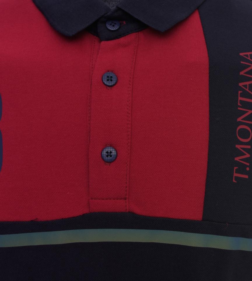 Tricou Polo Barbati Regular Fit Tony Montana -rosu/negru