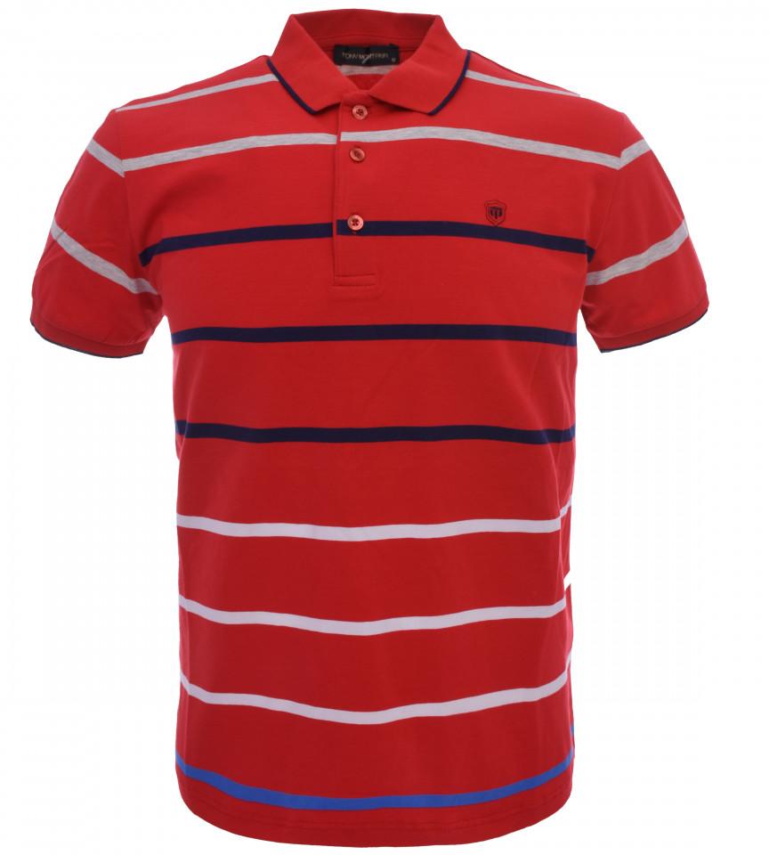 Tricou Polo Barbati Slim Fit Tony Montana cu dungi - rosu