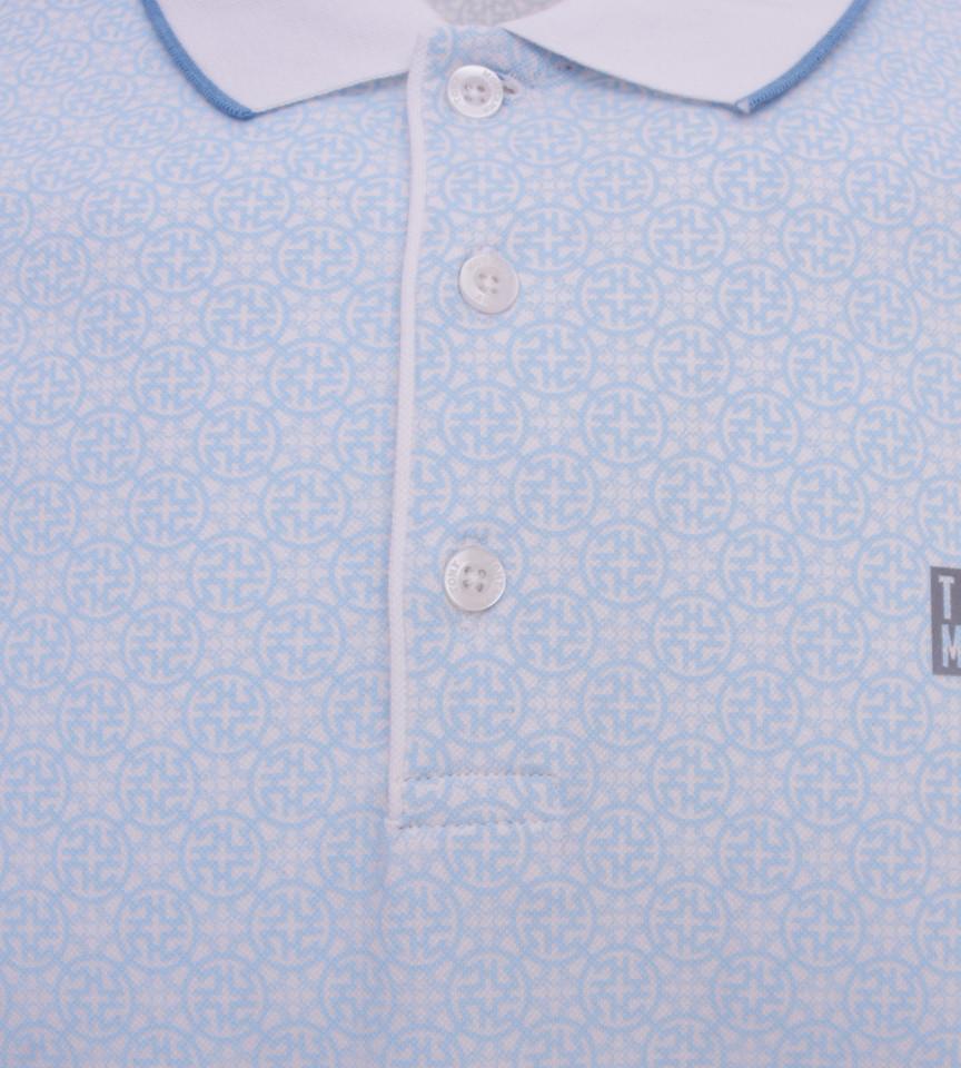 Tricou Polo Barbati Slim Fit Tony Montana cu imprimeu - bleu