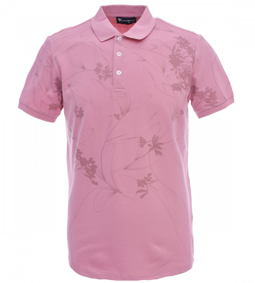 Tricou Polo Barbati Slim, Fit Tony Montana cu imprimeu-roz