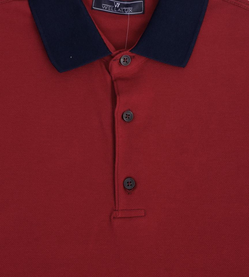 Tricou Polo Regular fit- grena/bleumarin