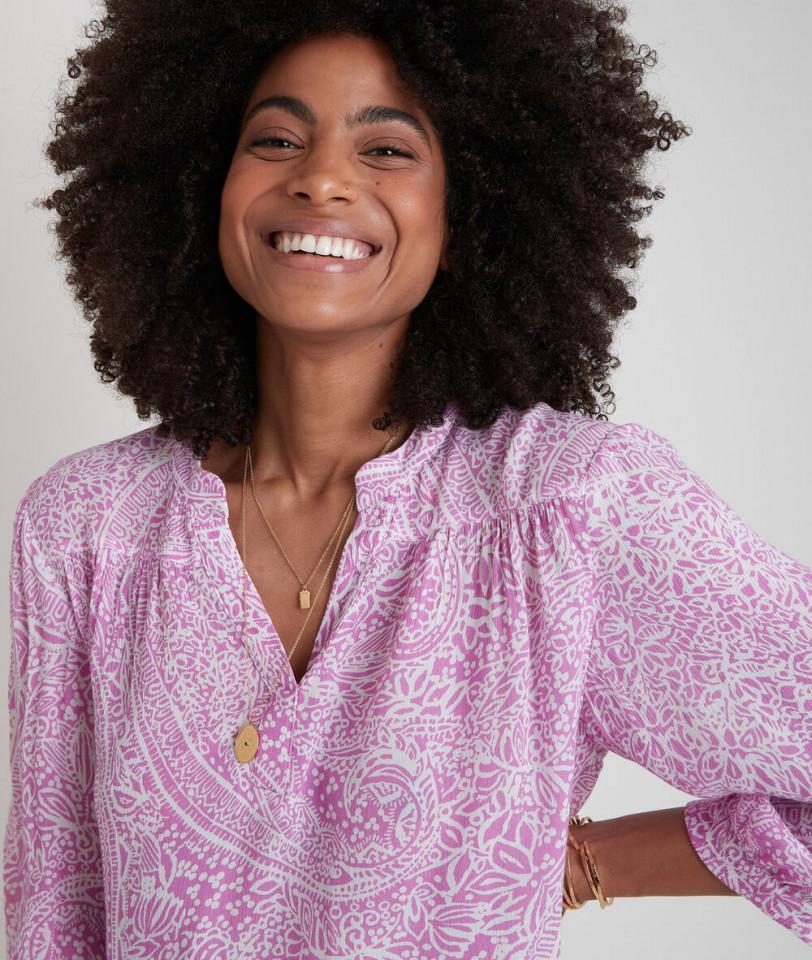 Bluza din vascoza cu imprimeu - roz