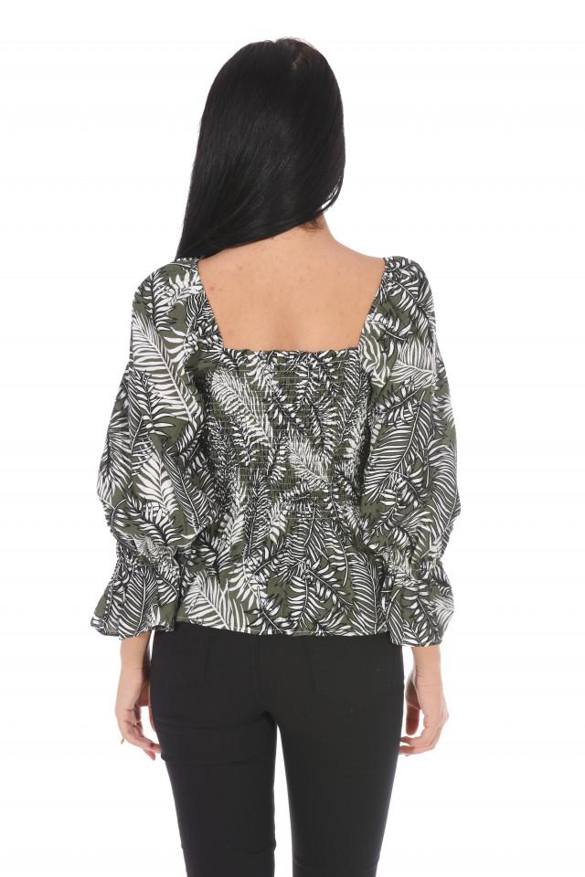 Bluza elastica cu imprimeu si umerii goi-kaki-
