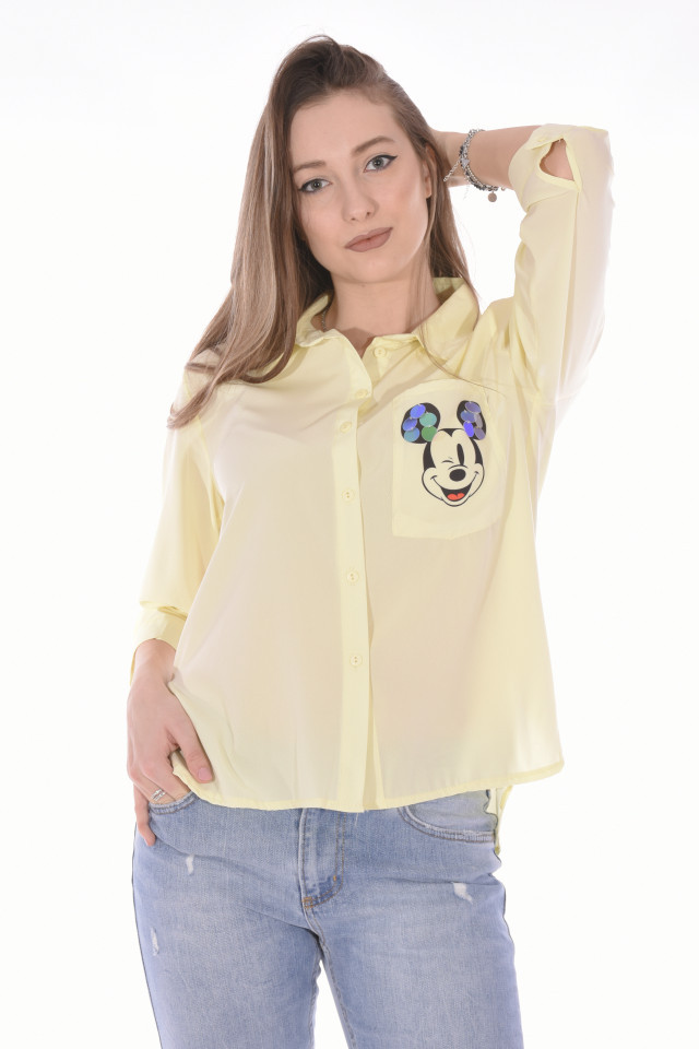 "Camasa casual "" Cartoons ""-GALBEN-"