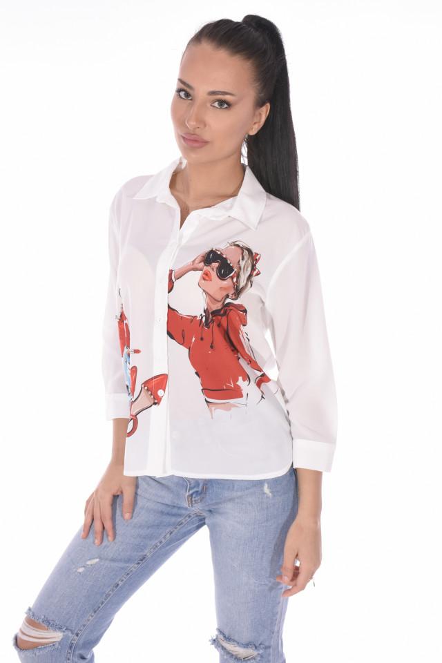 "Camasa casual "" Love Fashion ""-alb-E-"