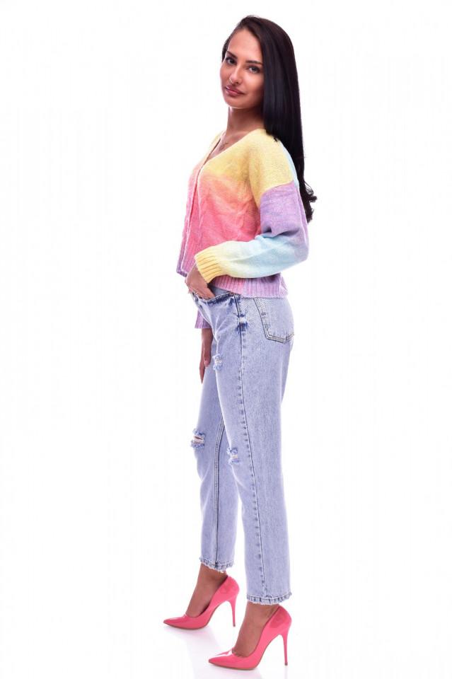 Cardigan dama multicolor scurt cu nasturi