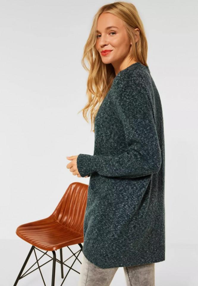 Cardigan din tricot gros cu buzunare - verde/gri