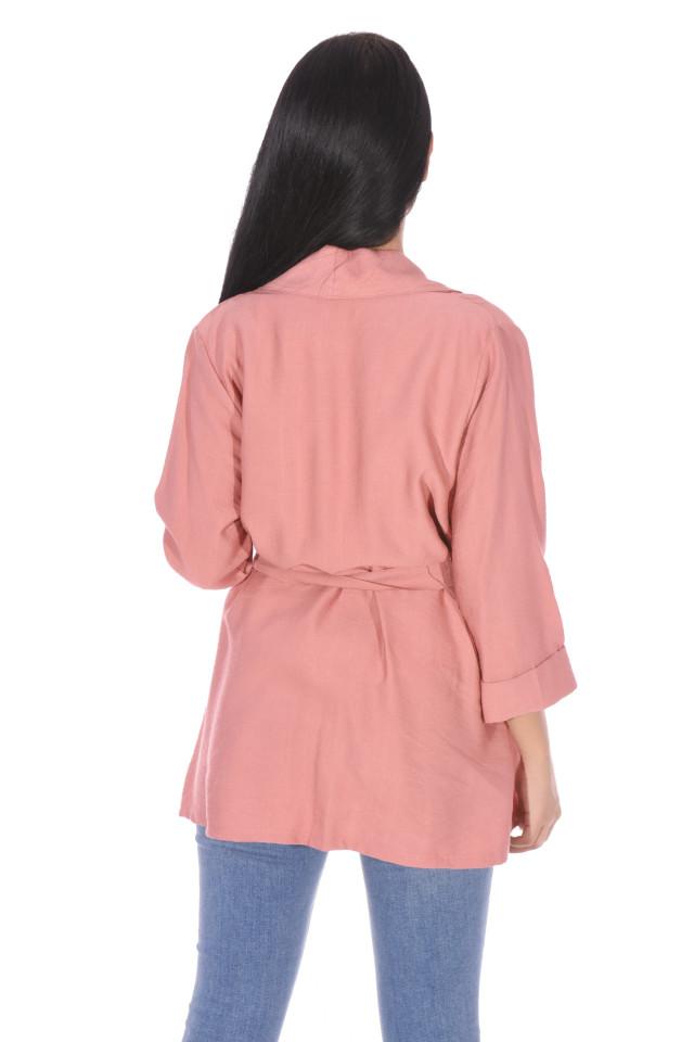 Jacheta/blazer cu maneci 3/4 si accesoriu - roz corai