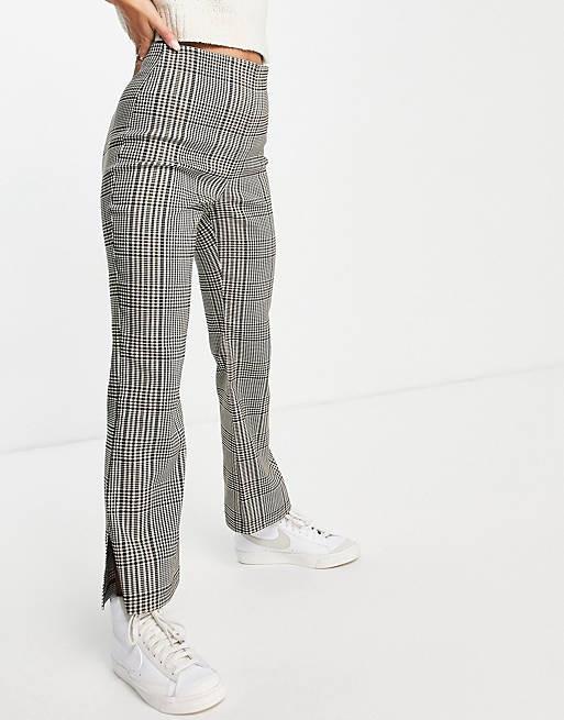 Pantaloni evazati in carouri - E