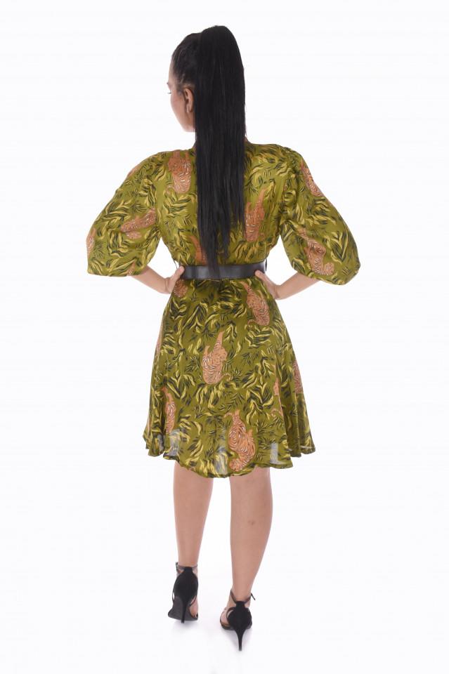 Rochie eleganta satinata cu imprimeu- verde-