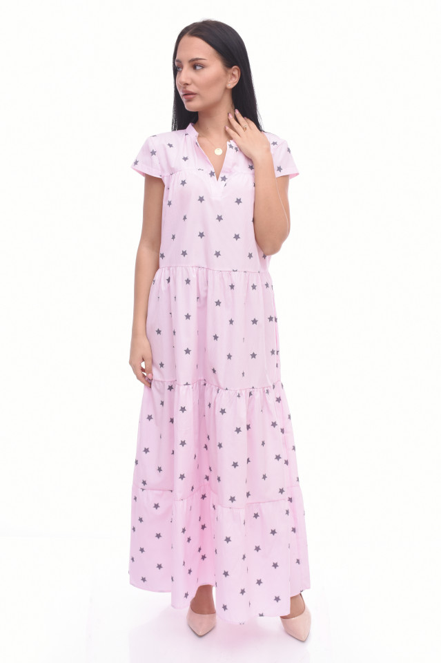Rochie lunga cu buline Anabel- roz-