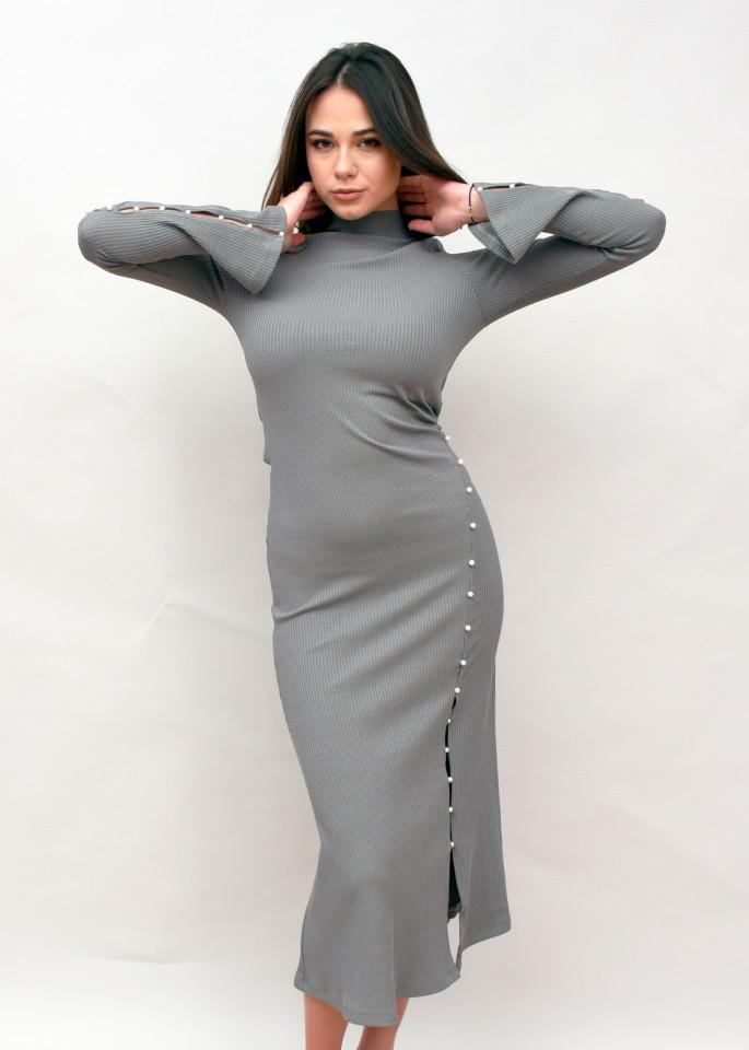 Rochie lunga din tricot cu guler inalt