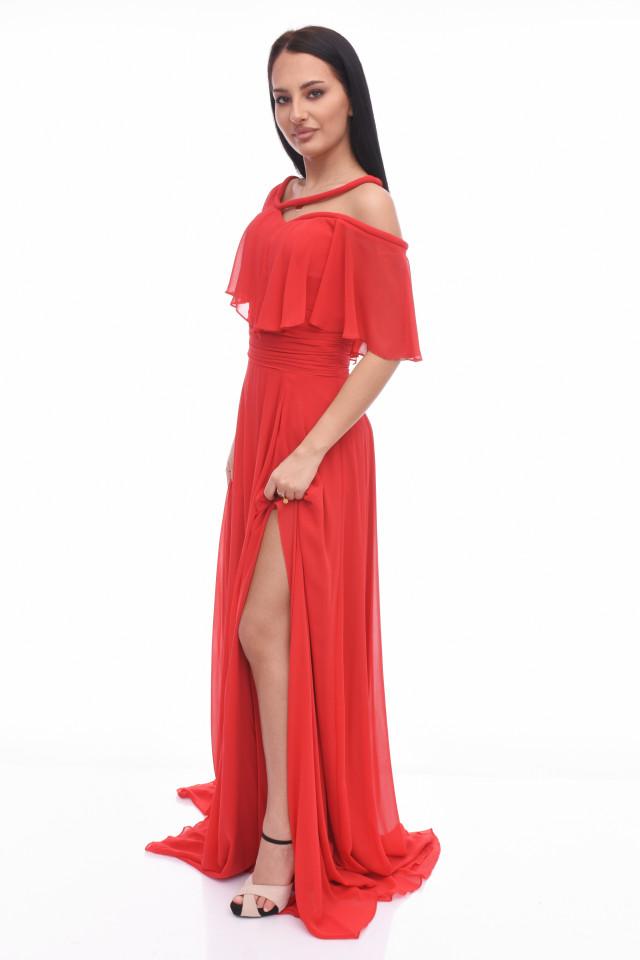 Rochie maxi eleganta din voal-rosu-