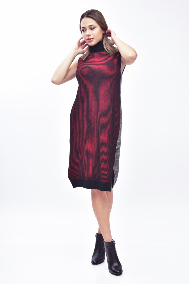 Rochie midi din tricot cu guler inalt-grena