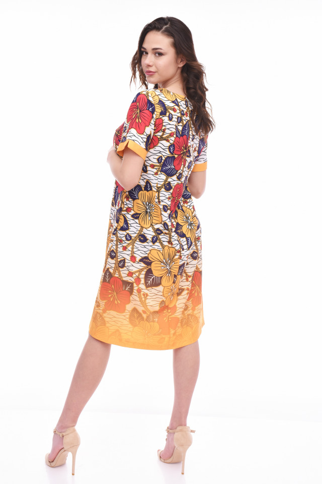 Rochie midi dreapta floral print-ANTONIA-mustar-