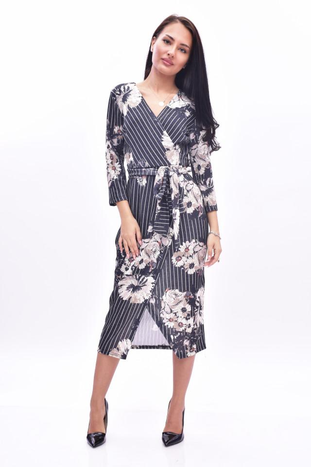 Rochie midi eleganta cu imprimeu floral petrecuta