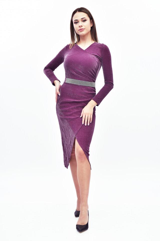 Rochie midi eleganta cu sclipici - burgundy