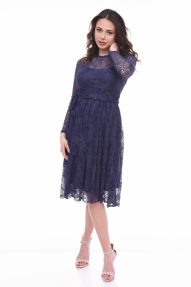 Rochie midi eleganta din dantela cu maneca lunga bleumarin